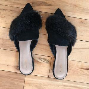 Faux Fur Black Mules